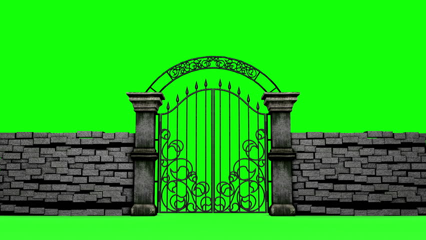 Entrance In Gothic Gates On Green Screen 3d Animation