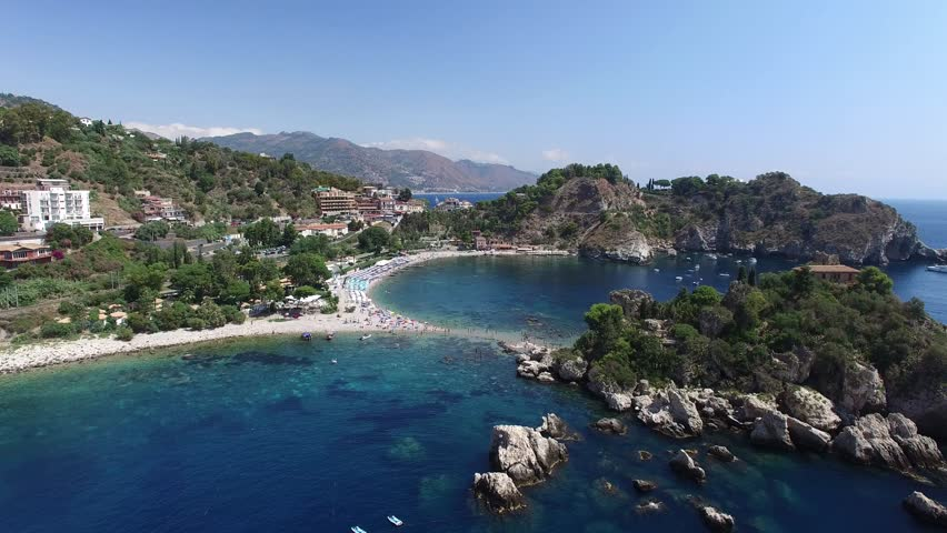 Aerial View of beach and island Isola Bella at Taormina, Sicily | Shutterstock HD Video #18118756