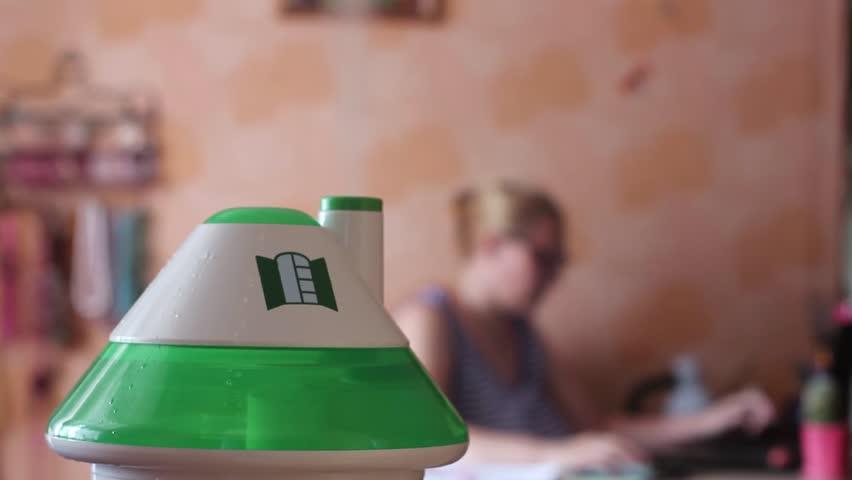 An ultrasonic humidifier spreading steam | Shutterstock HD Video #18144784