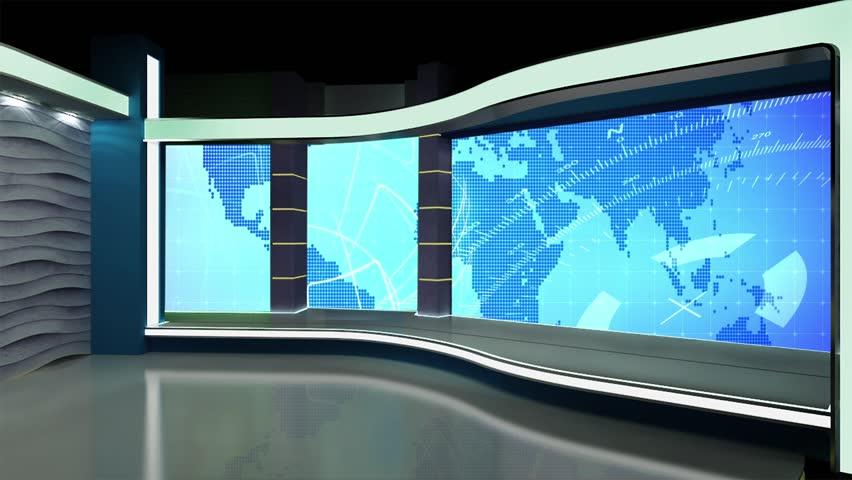 News TV Studio Set - Virtual Green Screen Background Loop - HD stock footage clip