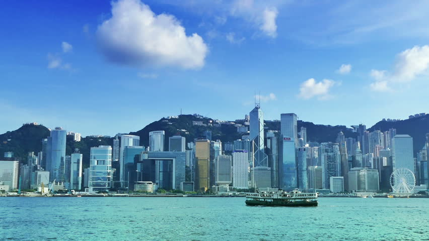 Hong Kong skyline with a reflection from a skyscraper.bluesky   Shutterstock HD Video #18180343