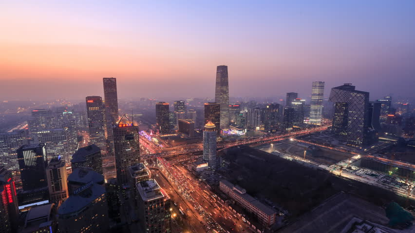 Timelapse: Beijing CBD Skyscraper Sunset in Aerial View with Traffic. | Shutterstock HD Video #18187363