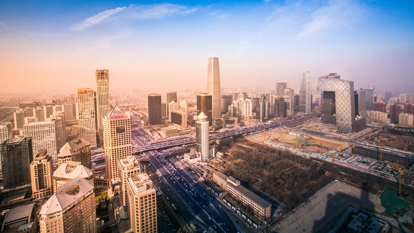 Timelapse: Beijing CBD Skyscraper Sunset in Aerial View with Traffic. | Shutterstock HD Video #18187372