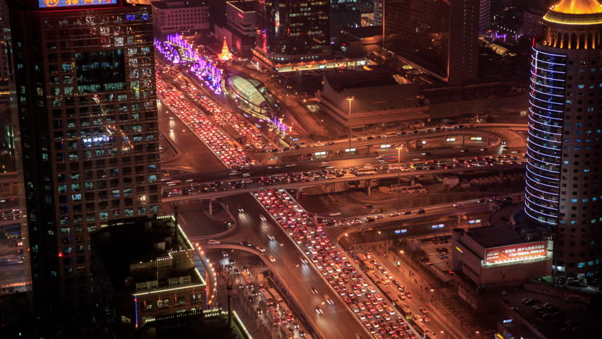 Timelapse: Beijing CBD Skyscraper in Aerial View at Night with Traffic. | Shutterstock HD Video #18187390
