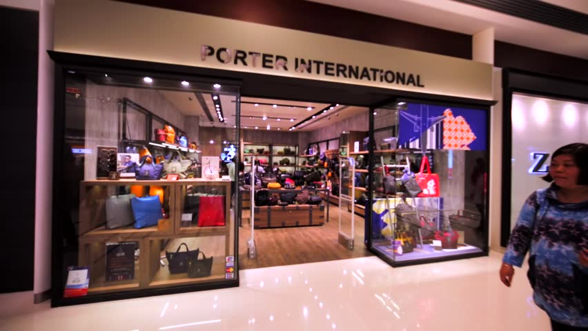 HONG KONG, CHINA - APRIL 2, 2016: Porter International store in Hong Kong mall. Designer and retailer of fancy and luxurious bags, handbagd, rucksacks, backpacks and accessories.