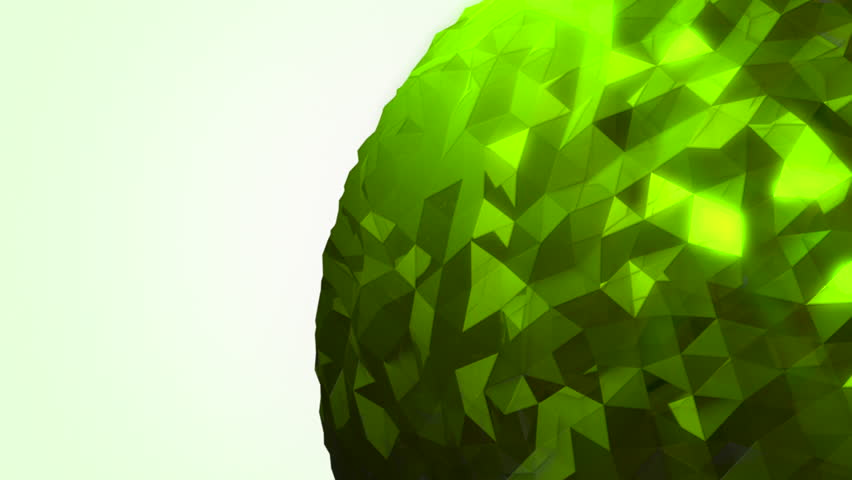 A rotating green orb made of reflective random pieces of charcoal glass against a subtle off white background. | Shutterstock HD Video #18238330