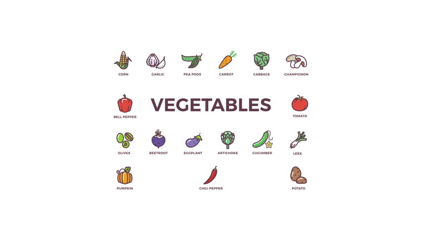 Animated icons of vegetables on white background for mobile applications and culinary web sites