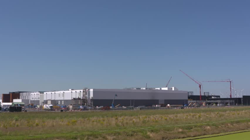 Google builds a huge data center in Groningen Seaport Eemshaven, at close proximity to Googles own head fibre to Northwest Europe and available sustainable energy. THE NETHERLANDS - JULY 2016