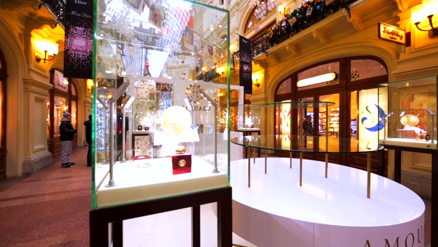 MOSCOW, RUSSIA - JUNUARY 10, 2016: Amouage stand-alone store in Moscow GUM, huge shopping mall. Amouage is an international luxury fragrance brand. So far there are 19 shops in different countries.