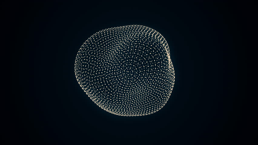 metamorphose of amorphous shape from dots and lines, abstract animation of future shape 4K