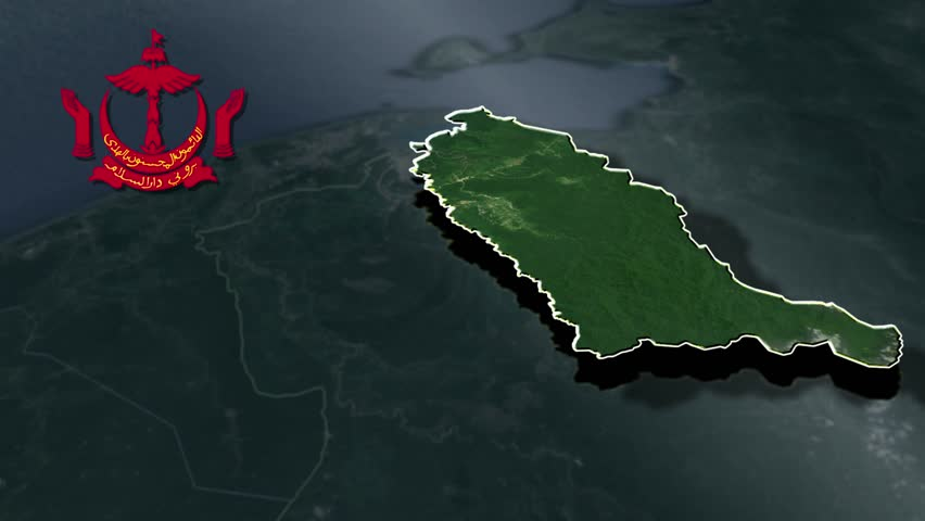Temburong with Coat Of Arms Animation Map Districts of Brunei