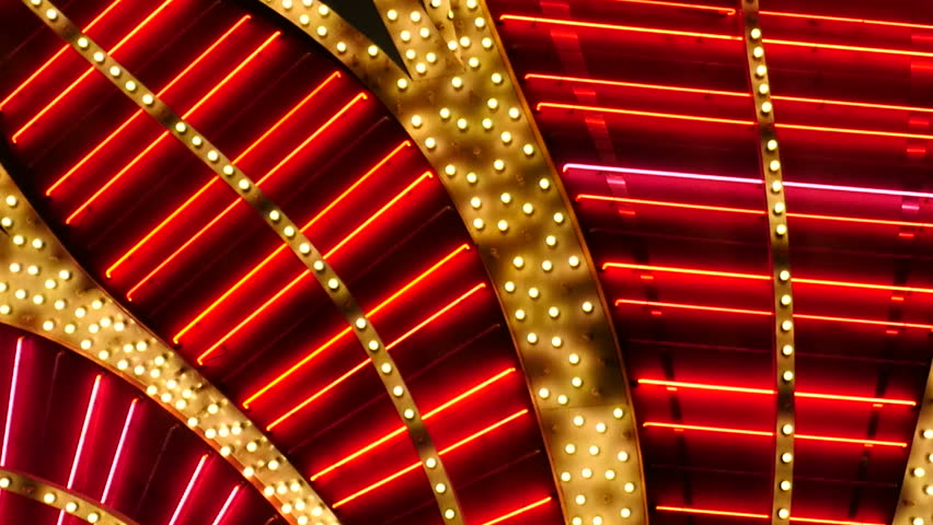 Red Neon Las Vegas Casino Sign at Night - Las Vegas Strip - Circa July 2016 | Shutterstock HD Video #18348499