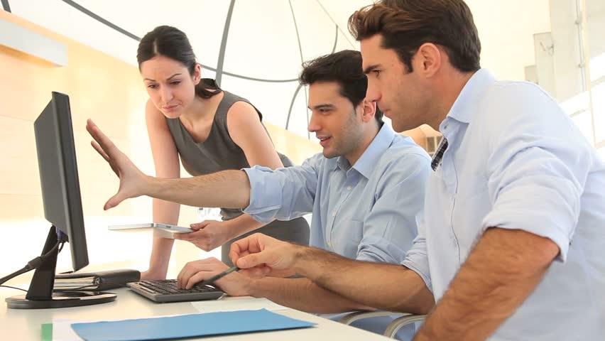 Sales people meeting in office - HD stock footage clip