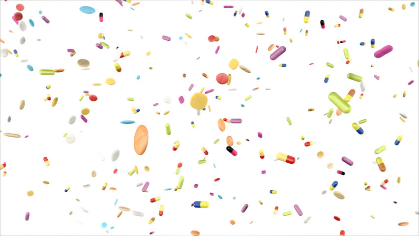 falling colorful drugs and pills on white background