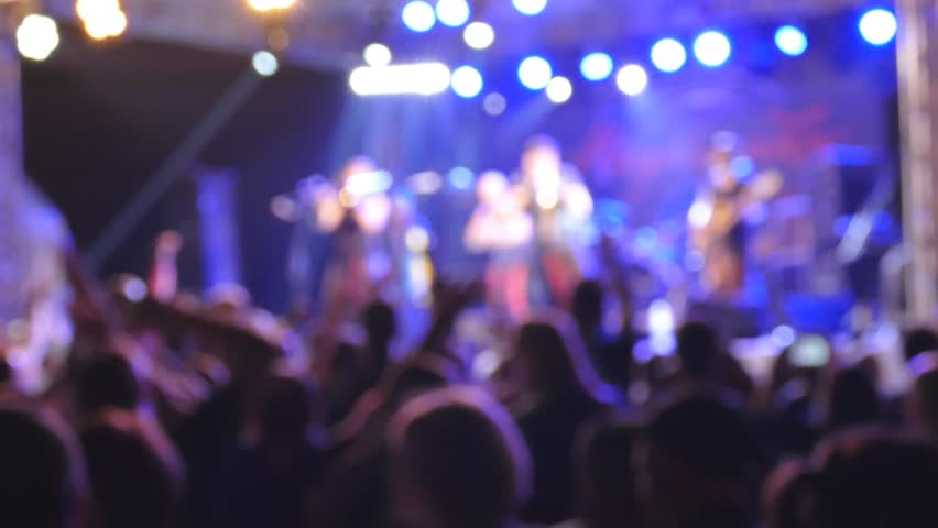 People at the concert. Defocused slow motion - HD stock video clip