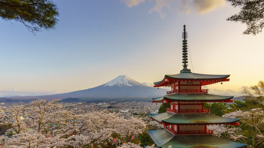 4K Timelapse of Mt. Fuji with Chureito Pagoda in spring, Fujiyoshida, Japan   Shutterstock HD Video #18419014