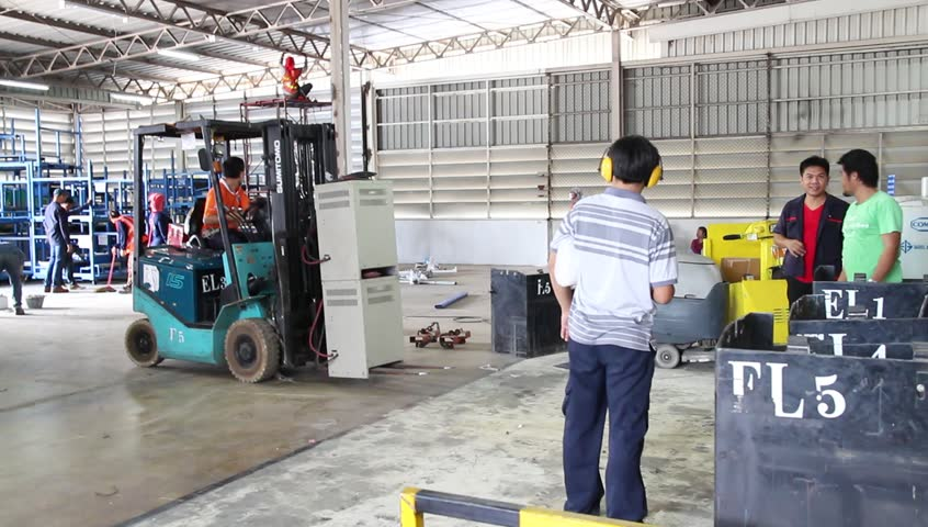 Rayong Thailand , July 30 - 2016 :  lift truck use in factory area for move part supply to production  | Shutterstock HD Video #18452512