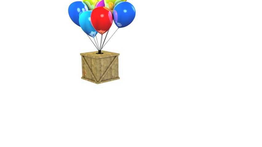 Fun animation wooden box balloon delivery concept.