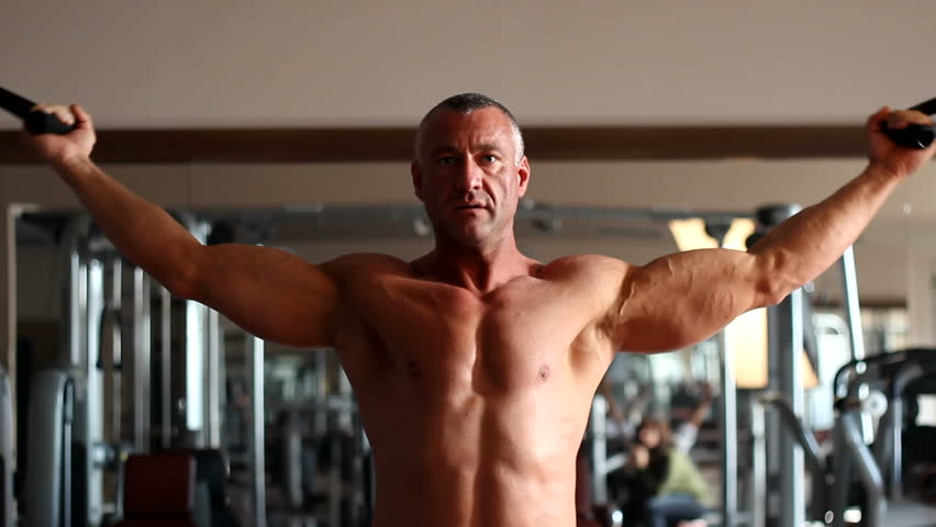 bodybuilder training - HD stock video clip