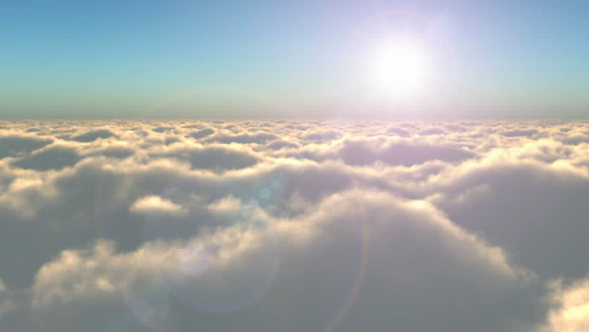 Scenic flight above the clouds towards the sun - HD stock video clip