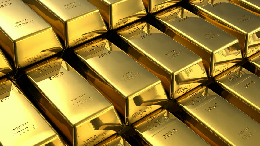 Endless loopable moving stacks of gold bars - HD stock video clip