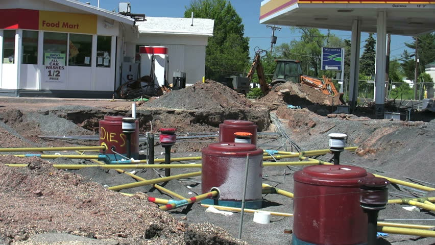 View Of The Underground Lines And Tanks Of A Gas Station ...