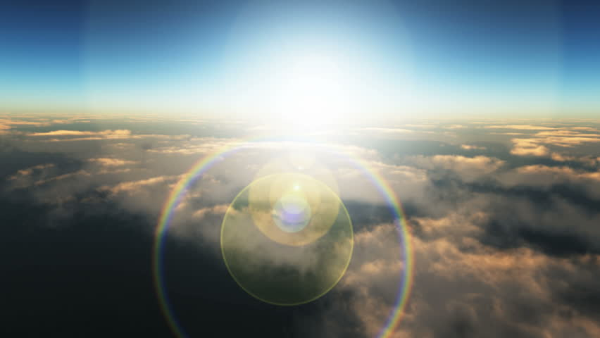 flight over the clouds sunset - HD stock footage clip