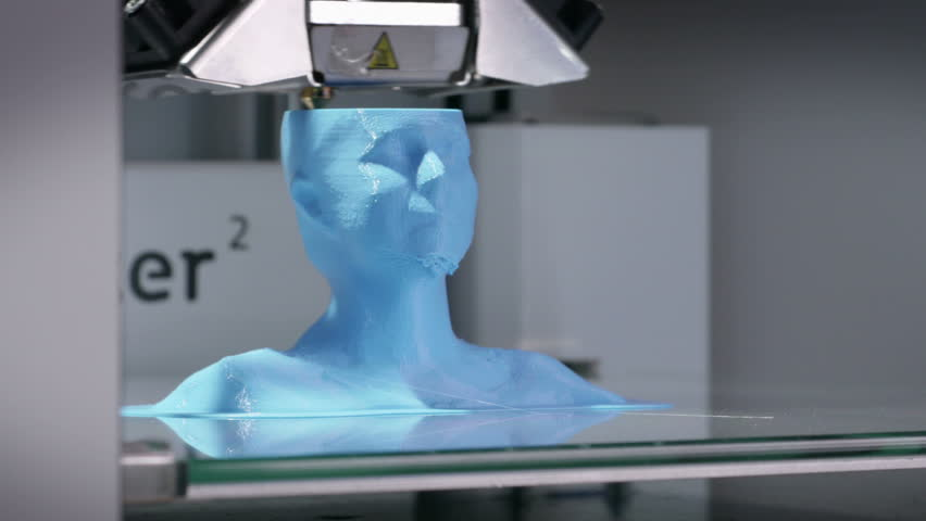 3D printing device working with plastic filament, printing a human bust. Time-lapse of a working  3D printer. | Shutterstock HD Video #18996877
