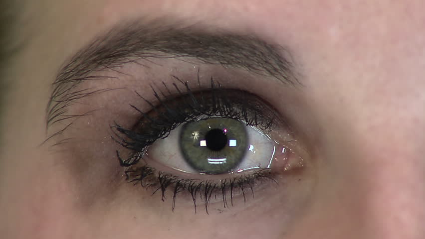 Close up HD clip of a beautiful green eye looking around. - HD stock footage clip