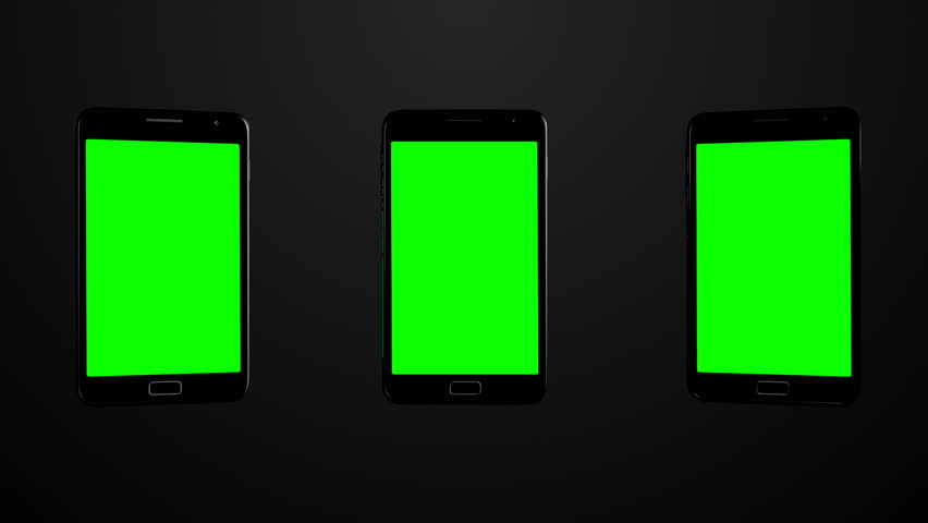 3 Smartphones turns on background with green screen | Shutterstock HD Video #19009243
