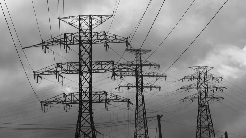 Electrical pylons with timelapse clouds. Black and white. Clean with no birds. - HD stock footage clip