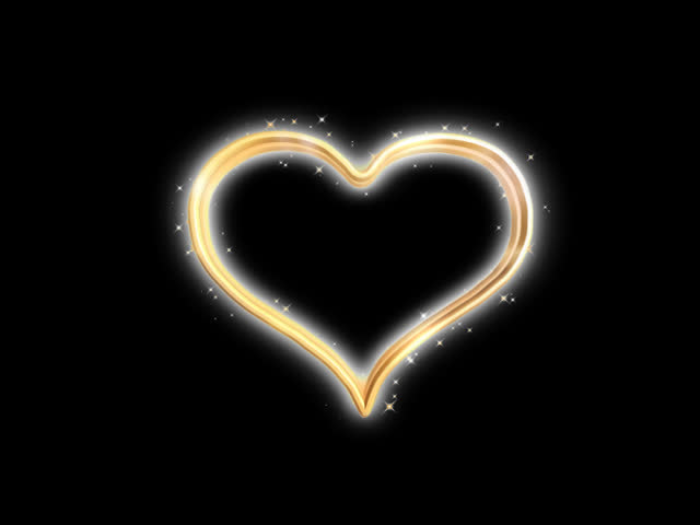 Animated gold heart - SD stock footage clip