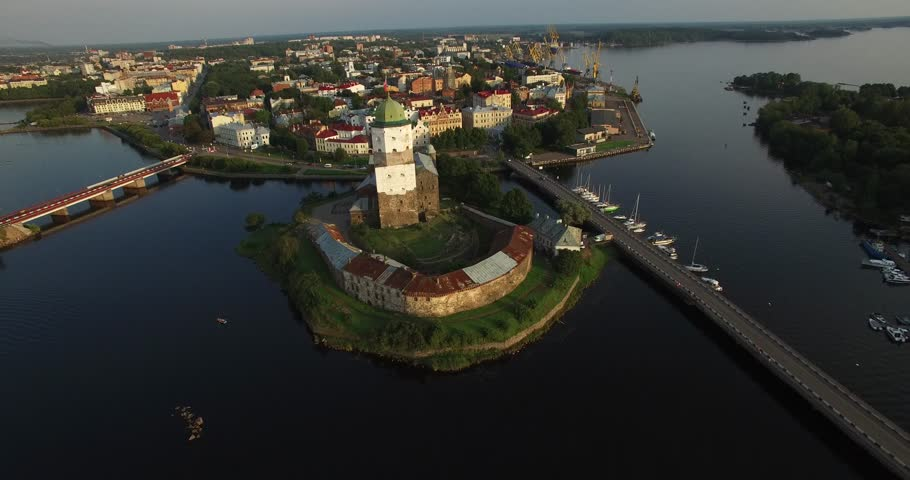 Aerial view drone footage of Vyborg town, water channels around old town center and Vyborg fortress in Russia | Shutterstock HD Video #19054171
