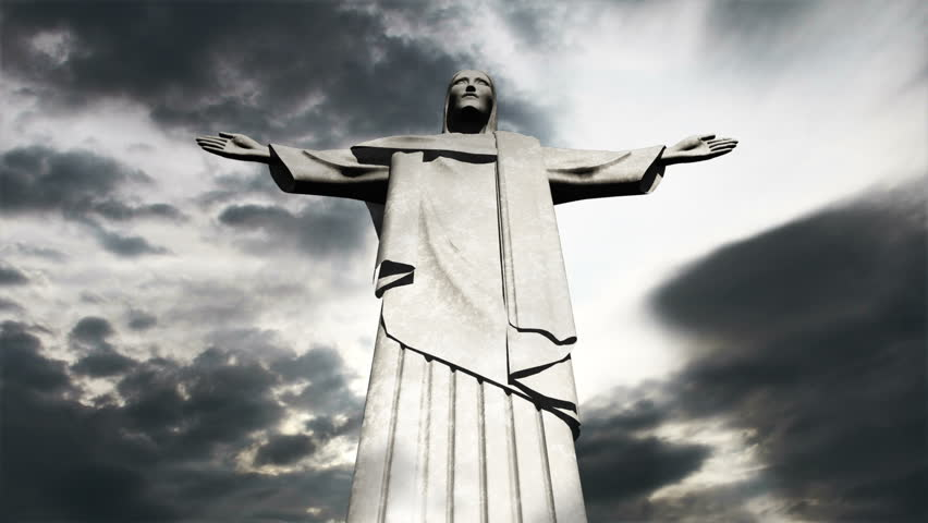 Rio De Janeiro  - Corcovado Jesus Clouds Timelapse 3D render and real clouds timelapse - HD stock footage clip