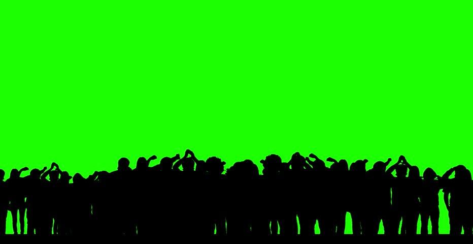 Dancing crowd (green screen) - silhouettes - HD stock video clip