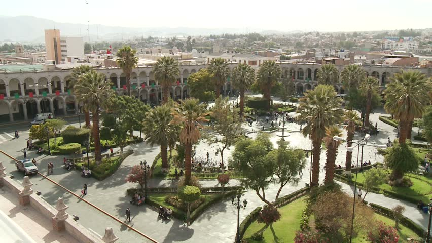Arequipa plaza with palm trees. City in the andes of Peru in South America. HD Video footage.