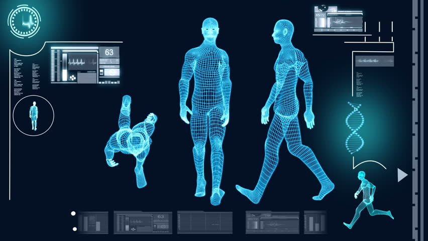 Digital motion graphic of a virtual walking male in 3D illustration for medical and scientific research data - HD stock video clip