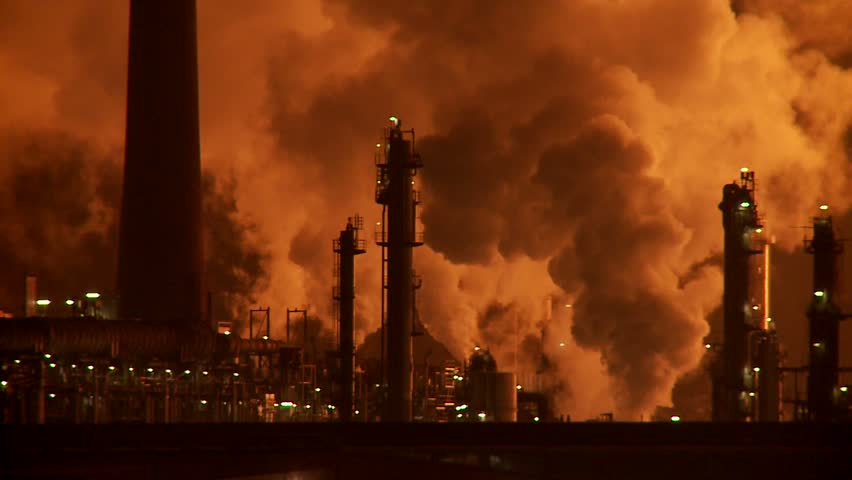 Smoke Stacks Of Petroleum And Petro Chemical Industry