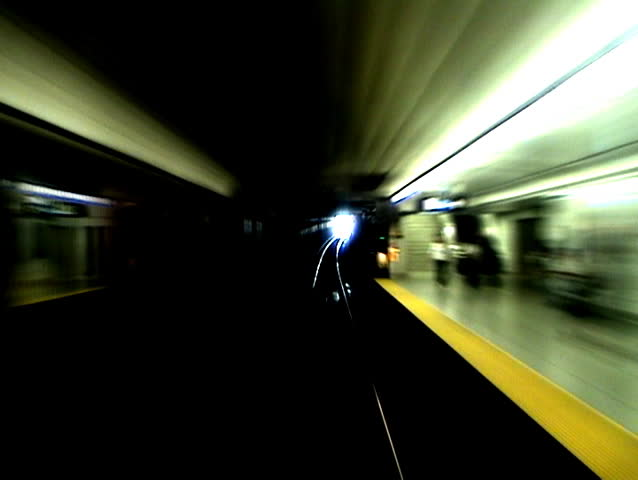 Timelapse shot from the front of a subway car.  - SD stock video clip