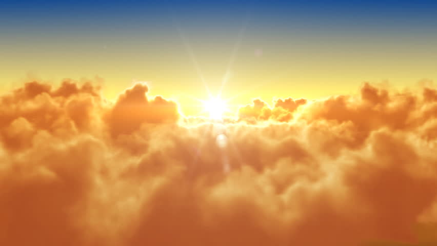 Flying over the clouds with the evening (morning) sun. Seamless 3d animation. HD 1080. | Shutterstock HD Video #1927594