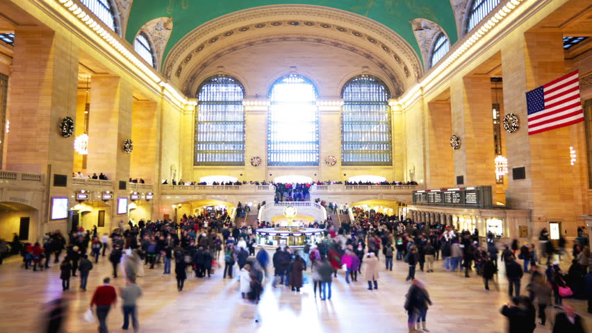 Grand Central Station in New York City time lapse with blurred people | Shutterstock HD Video #1934479