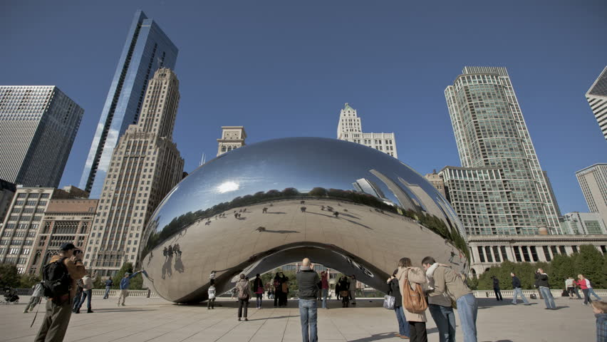 CHICAGO - Oct 21: Timelapse of Cloud Gate at Millennium Park, Chicago on October