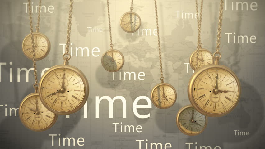 Ancient clocks swinging like a pendulum against the background with title time - HD stock video clip