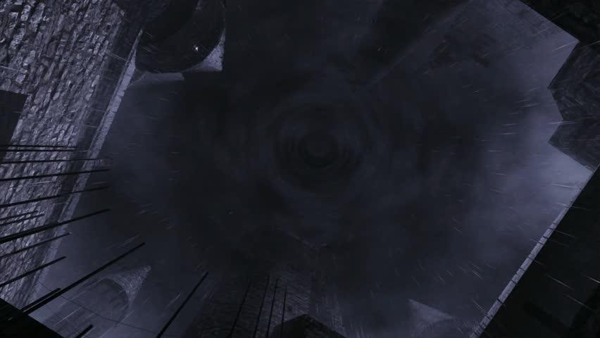 Rain falling into Dracula Castle - HD stock video clip