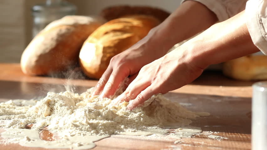Baker Kneading Dough In Flour On Table Stock Footage Video 1949743 - Shutterstock