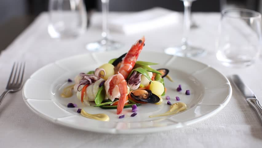 Prawn with octopus, vegetables and mussels. 360 rotation food - HD stock video clip