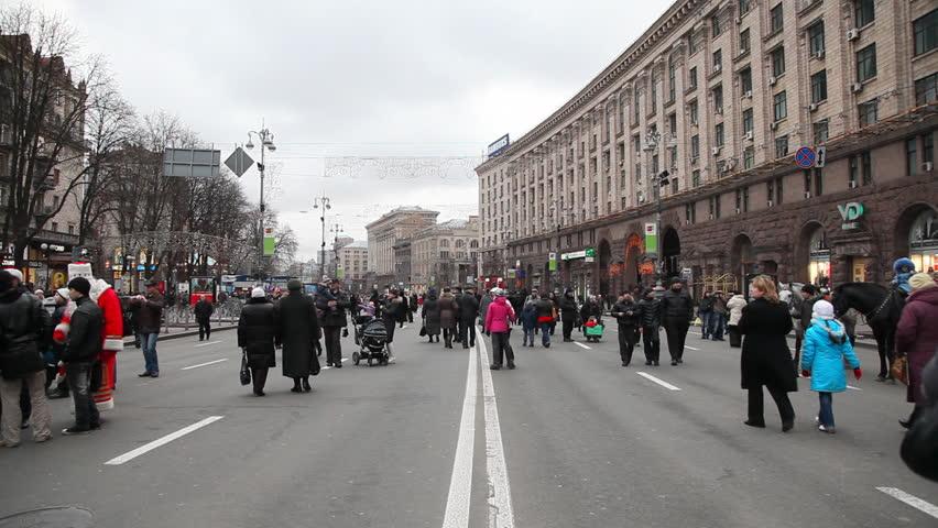 KIEV, UKRAINE - JANUARY 7 : Activity on Kreschatik street in Kiev on January 7, 2012. Kreschatik is the central street of Kiev - HD stock video clip