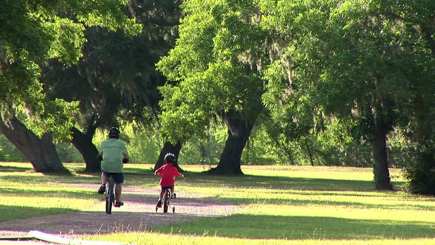 father and son riding their bikes through a park - HD stock video clip