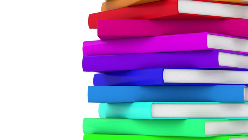pile of rotating books - high quality 3d animation - endless loop