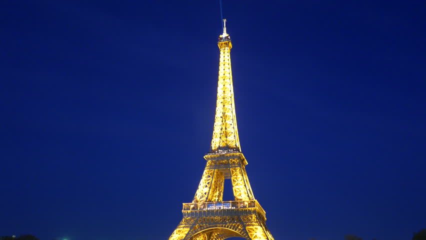 4k footage of illuminated Eiffel Tower at Paris, France at night. | Shutterstock HD Video #19682101